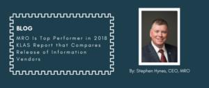 MRO is top Performer in 2018 by: Stephen Hynes, CEO, MRO
