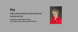 Healthcare & Security Predictions blog by: Rita Bowen