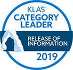 Category Leader for the Release of Information (ROI) services market segment, Best in KLAS: Software & Professional Services report, 2019