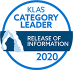 Category Leader for the Release of Information (ROI) services market segment, Best in KLAS: Software & Professional Services report, 2020